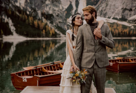 A Folky Elopement Wedding in Lake Braies Italy