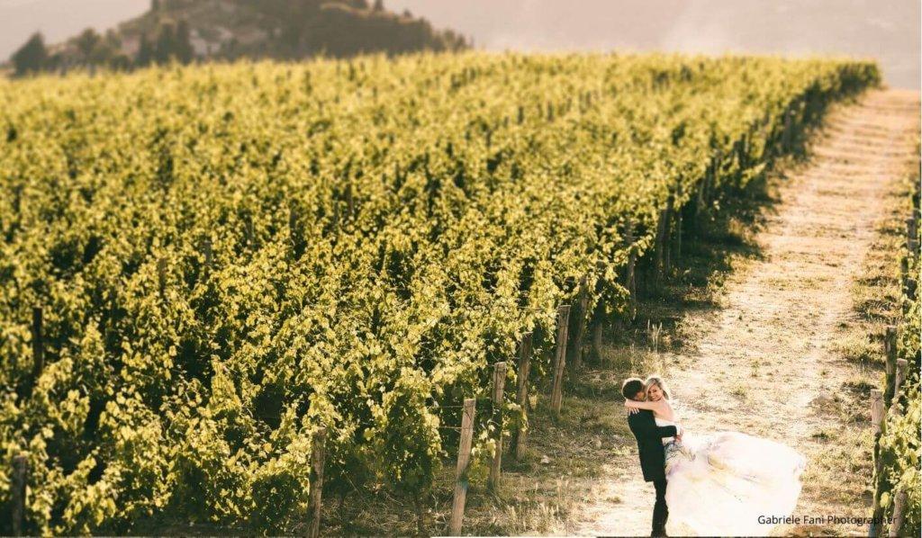 Bride and Groom amongst vineyards in Italy